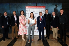 NO REPRO FEE. At the RIver Lee Hotel for the Cork City Sports Athlete of the Year AWard for 2020. L to R., Kieran McGeary, CEO Cork 96FM C103 Eoghan Dinan, The Echo, Mayor of Cork County Cllr. Gillian Coughlan, Olympian Phil Healy, Bandon A.C.,  Athlete of the Year 2020, Deputy Lord Mayor Cllr Tony Fitzgerald, Ruairi O'Connor, GM, The River Lee, Tony O'Connell, Chairman CCS and George Duggan, Cork Crystal. Picture, Martin Collins.