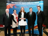 Niamh Murphy, Blarney/Inniscarra AC is the Cork City Sports Athletics Person of the Month in Association with The River Lee Hotel, Cork 96FM C103 and the Evening Echo. Also in picture L to R., Tony O\'Connell, Chairman CCS, Elaine Fitzgerald, Cork 96FM C103, Frank Walley, President CCS and Ruairi O\'Connor, GM, The River Lee Hotel