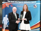 ony O\'Connell Chairman, Presenting the Cork City Sports Athletics Person of the Month Award to Niamh Murphy, Blarney / Inniscarra AC. Picture