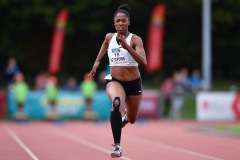 14 August 2019; Finette Agyapong of Great Britain on her way to winning the Women's 100m B event, sponsored by Centra, during the BAM Cork City Sports at CIT Athletics Stadium in Bishopstown, Cork. Photo by Sam Barnes/Sportsfile