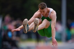 14 August 2019; Colm Bourke of Ireland competing in the Men's Long Jump event, sponsored by Cork Airport during the BAM Cork City Sports at CIT Athletics Stadium in Bishopstown, Cork. Photo by Sam Barnes/Sportsfile