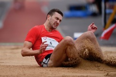 14 August 2019; Jesse Thibodeau of Canada competing in the Men's Long Jump event, sponsored by Cork Airport during the BAM Cork City Sports at CIT Athletics Stadium in Bishopstown, Cork. Photo by Sam Barnes/Sportsfile