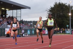 14 August 2019; Candace Hill of USA, right, on her way to winning the Women's 200m event, sponsored by BAM Ireland, during the BAM Cork City Sports at CIT Athletics Stadium in Bishopstown, Cork. Photo by Sam Barnes/Sportsfile
