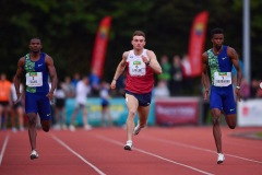 14 August 2019; Athletes from left, Sydney Siame of Zambia, Marcus Lawler of Ireland and Anaso Jobodwana of South Africa competing in the Men's 200m event, sponsored by BAM Ireland during the BAM Cork City Sports at CIT Athletics Stadium in Bishopstown, Cork. Photo by Sam Barnes/Sportsfile