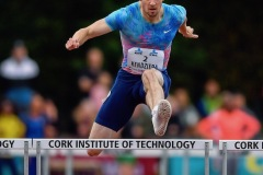 14 August 2019; David Kendziera of USA on his way to winning the Men's 400m Hurdles event, sponsored by KBC Bank, during the BAM Cork City Sports at CIT Athletics Stadium in Bishopstown, Cork. Photo by Sam Barnes/Sportsfile