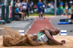 14 August 2019; Luvo Manyonga of South Africa competing in the Men's Long Jump event, sponsored by Cork Airport, during the BAM Cork City Sports at CIT Athletics Stadium in Bishopstown, Cork. Photo by Sam Barnes/Sportsfile